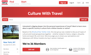 culture with travel meetup
