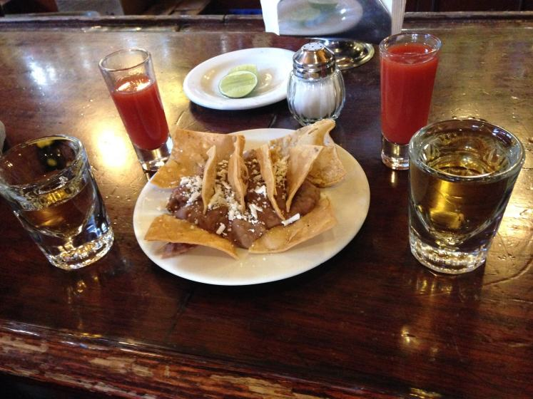 Tequila and Nachos in Mexico City.