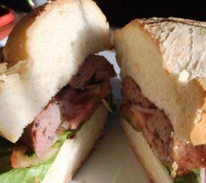skirt steak sandwich at La Gran Uruguaya