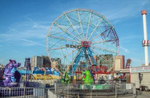 Coney Island Wonder Wheel near Q train