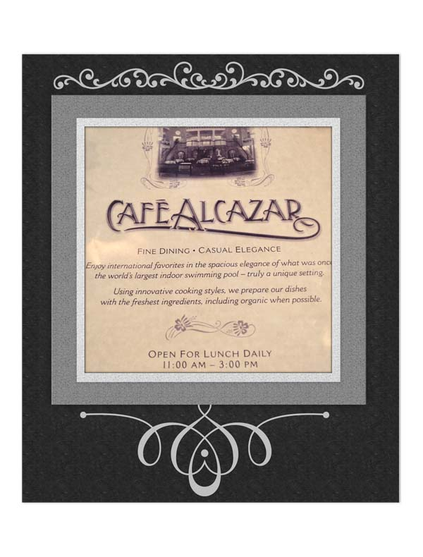 Menu at Cafe Alcazar in St. Augustine