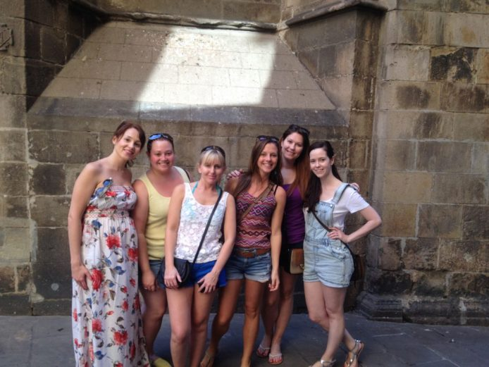 Nikki and her best friends in Barcelona