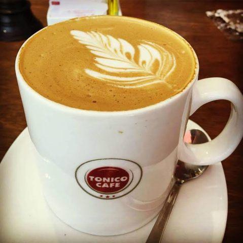 coffee culture: Cappuccino served in a private cafe in Kerala