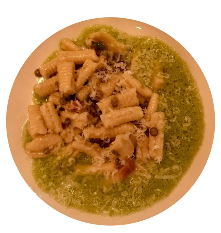 Frattoria Betti Brooklyn event: cavatelli with prosciutto, scallions, lentils and a spinach emulsion