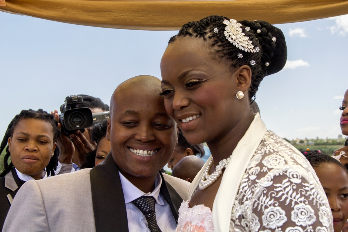 Zanele Muholi (South African, born 1972). Ayanda & Nhlanhla Moremi's wedding I. Kwanele Park, Katlehong, 9 November 2013, 2013. Chromogenic photograph, 10 7/16 x 14 9/16 in. (26.5 x 37 cm), framed. © Zanele Muholi. Courtesy of Stevenson Cape Town/Johannesburg and Yancey Richardson, New York