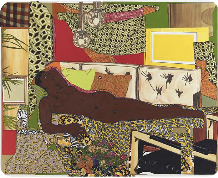 mickalene thomas - Marie -Femme noire nue couchée