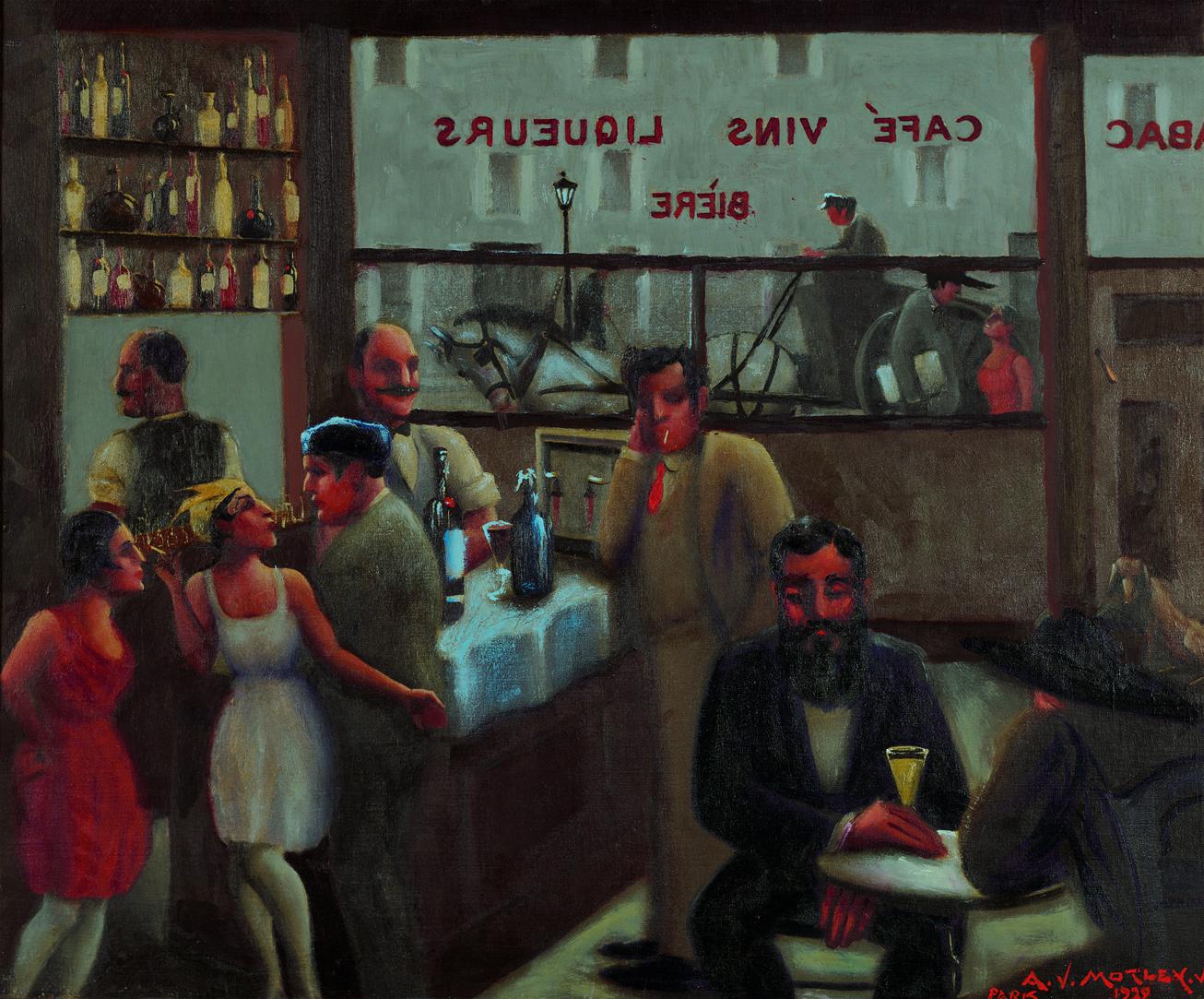 """Painting titled """"Café, Paris"""" by Archibald J. Motley, Jr., 1929. Oil on canvas. Interior of a café in Paris, France."""