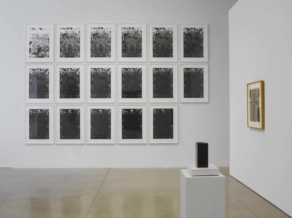 Blackness in Abstraction Installation at Pace Gallery 537 West 24th Street, New York, NY June 27 - August 19, 2016 From left: Ligon, Untitled, 2016, #63028.01; LeWitt, Early Wood Sculpture, c. 1962, #35857; Rauschenberg, Untitled (black painting on paper with collage), 1952, #63140 view 4 Photographer: Kerry Ryan McFate