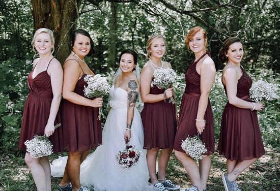 Bridesmaids rustic wedding