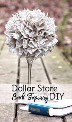 DIY Dollar Store Book Topiary. DIY Wedding decoration from the dollar store. Affordable wedding decoration ideas. Dollar Store Home Decor DIY! How to plan a wedding on a budget. Brides on a budget. How to decorate on a frugal budget. #weddingdecor #budgetwedding how to save money on a wedding.