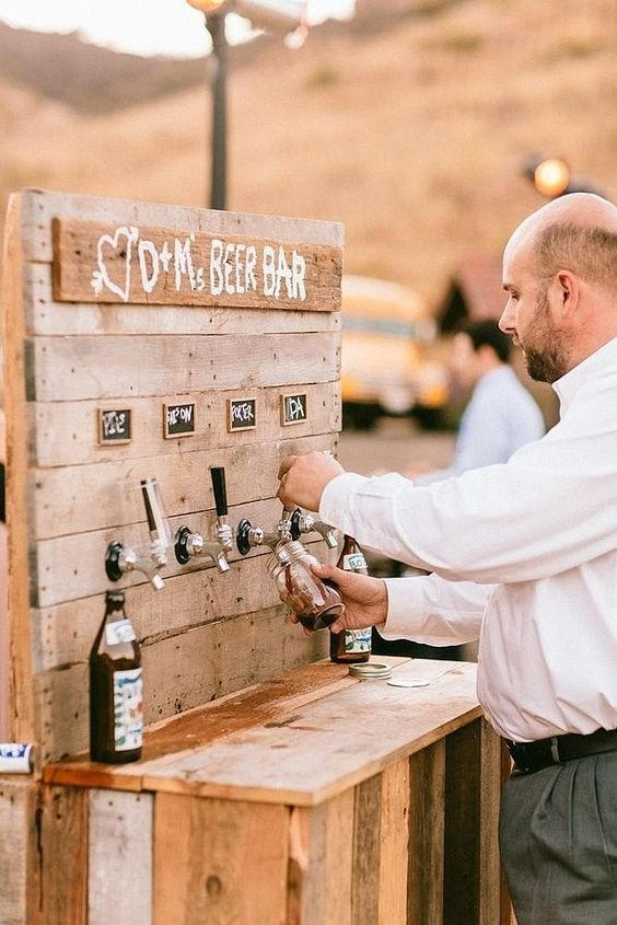 beer bar for your wedding. Here is a list of creative wedding bar ideas you can use to set up your wedding. Wedding decoration ideas that will wow your wedding guests. Here is a list of the best food reception stations you can set up to entertain your wedding guests. Unique Wedding station ideas for your reception. #Weddingstation #weddingbarideas #weddingideas
