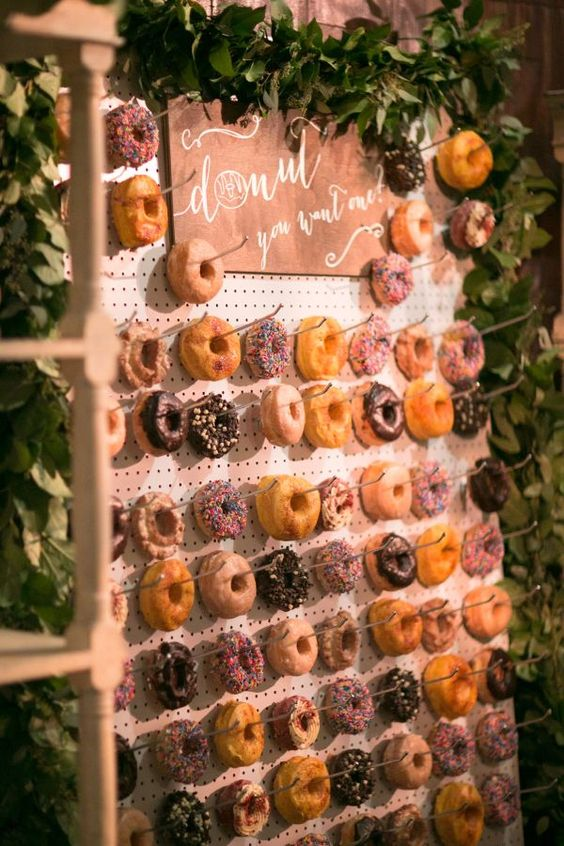 donut bar for your wedding. Here is a list of creative wedding bar ideas you can use to set up your wedding. Wedding decoration ideas that will wow your wedding guests. Here is a list of the best food reception stations you can set up to entertain your wedding guests. Unique Wedding station ideas for your reception. #Weddingstation #weddingbarideas #weddingideas