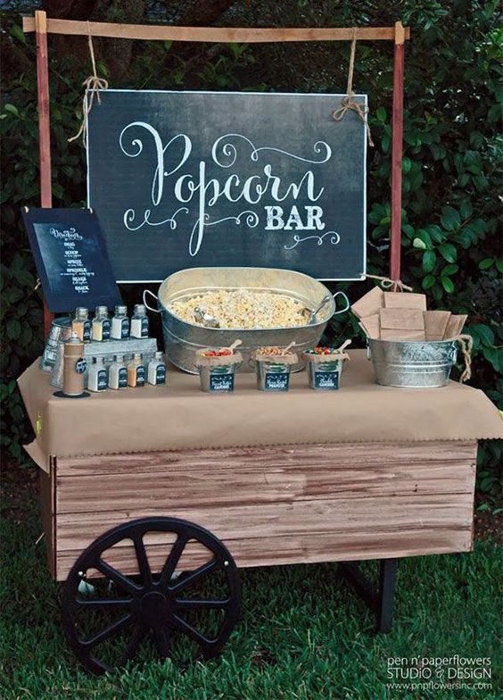 popcorn bar for your wedding. Here is a list of creative wedding bar ideas you can use to set up your wedding. Wedding decoration ideas that will wow your wedding guests. Here is a list of the best food reception stations you can set up to entertain your wedding guests. Unique Wedding station ideas for your reception. #Weddingstation #weddingbarideas #weddingideas