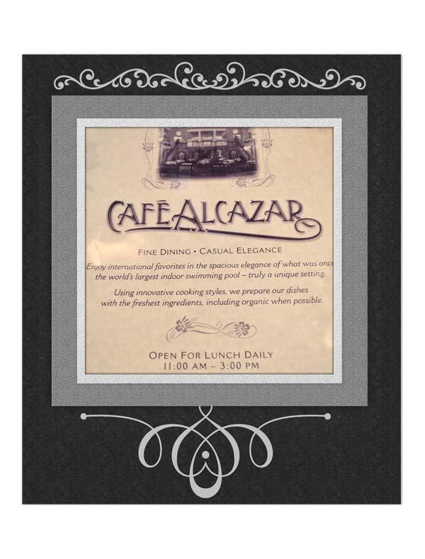 Menu at Cafe Alcazar in St. Augustine