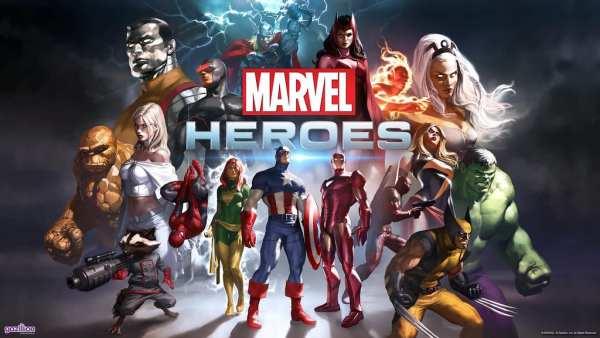 Image of various superheroes from Marvel Heroes video game.
