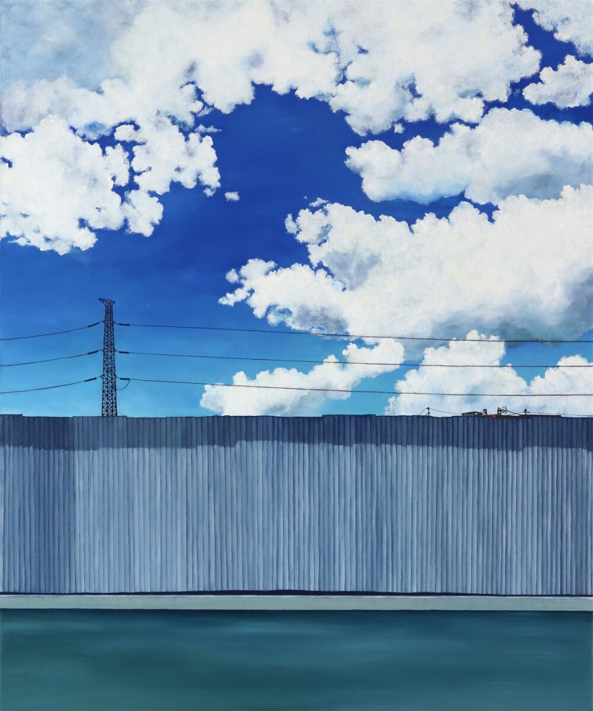 """""""Vermilion Sighting"""" Oil on canvas Painting by Christine Rasmussen. A corrugated metal fence with a telephone wire above it. There is a background of a blue, cloudy sky."""