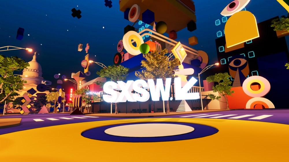 SXSW Online 2021-Virtual Austin Cityscape with bright colors and SXSW logo in the center.