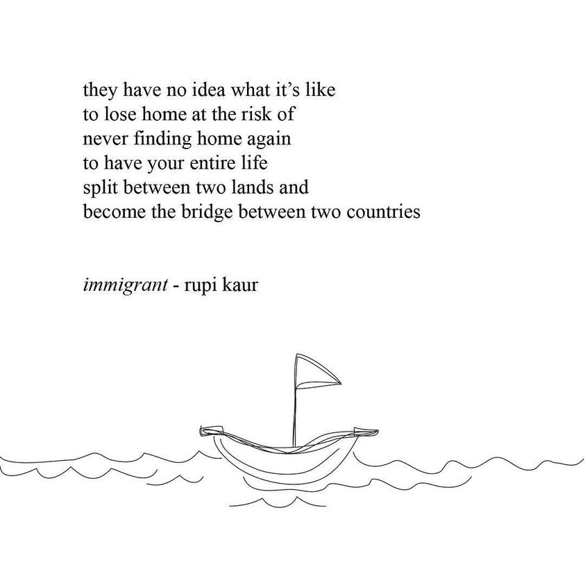 Rupi Kaur poem quote and line drawing of boat