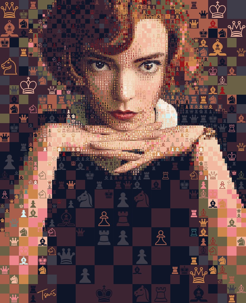 """Digital art portrait of Anya Taylor-Joy's character Beth Harmon from """"The Queens Gambit"""". The mosaic portrait is made out of chess symbols, reflecting the character's chess skills."""