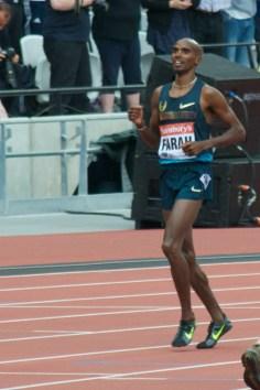 Mo Farah winning mens 3000 in London.