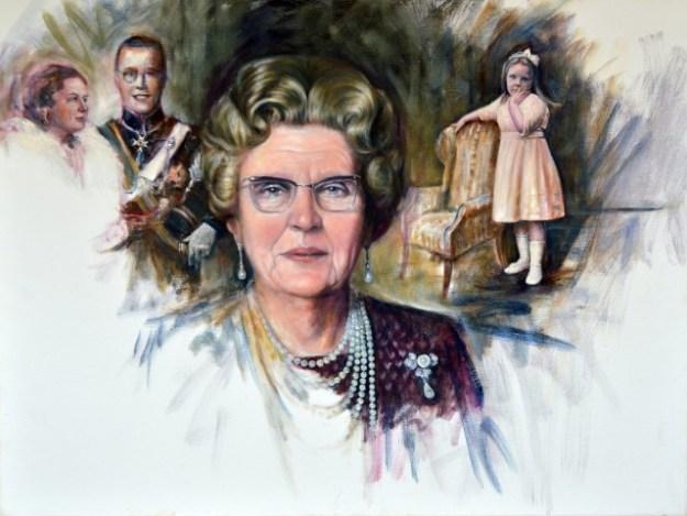 """Koningin Juliana en Prins Bernhard woonden vanaf 1937 tot aan hun dood in Paleis Soestdijk. Portret geschilderd door Gustave Nouel,. voor het boek ''Het geloof van Oranje: vrijheid, verbondenheid, toleratie"""" (Marianne Visser van Klaarwater, Den Haag,,U2pi, 2015)"""