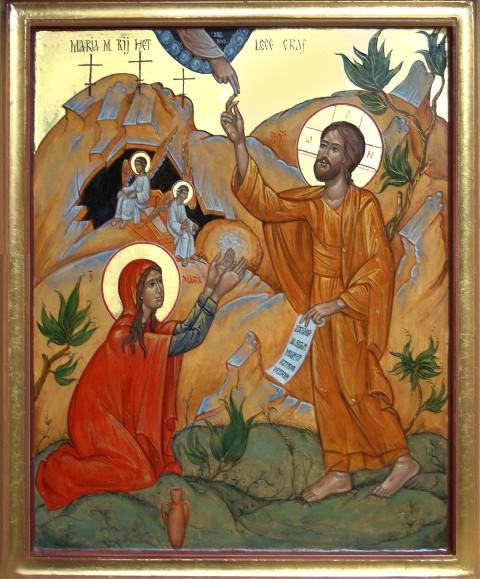 Omzien naar elkaar. Maria ontmoet Jezus bij Zijn graf. Icoon geschilderd door Geert Hűsstege.