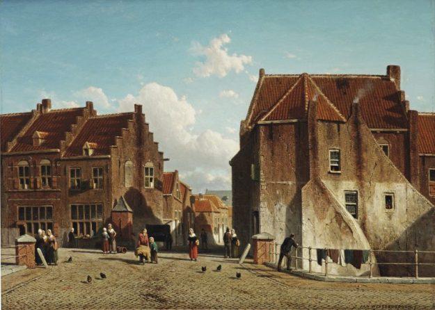 Jan Weissenbruch: De Scherpenhoek te Culemborg, ca. 1861 Olieverf op paneel, 43 x 60 cm Particuliere collectie