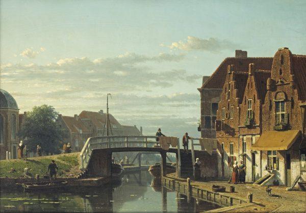 Jan Weissenbruch: De Delftsekade en Peperbus te Leidschendam, ongedateerd Olieverf op doek, 56 x 80 cm Van der Meij Fine Arts, Amsterdam