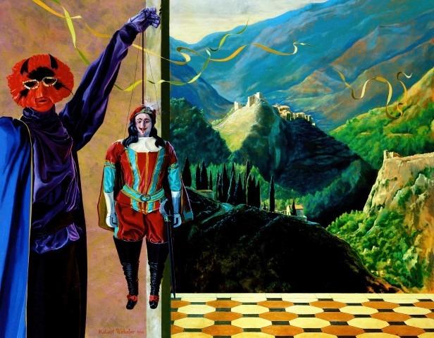 Robert Webster, La danse un peu macabre, un peu caravalesque. olieverf op doek 140x110cm.