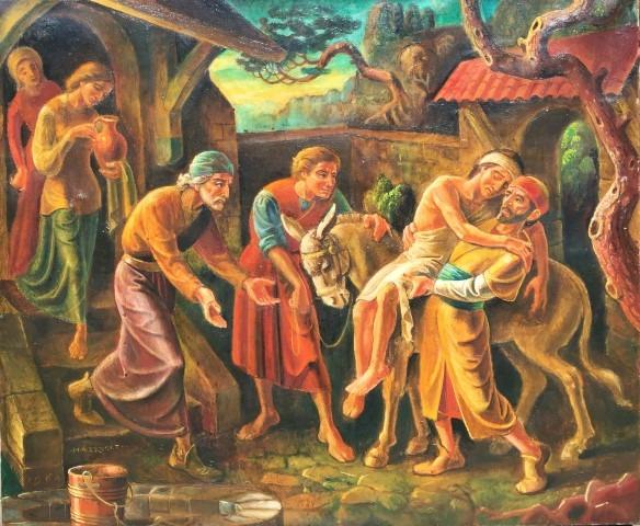Han Bijvoet barmhartige Samaritaan,1964, olieferf op paneel, particulier bezit,