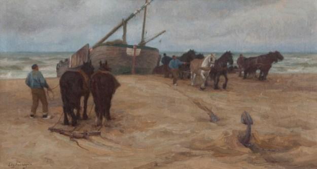 """Edgard Farasyn (1858-1938) """"Het binnenhalen van een bomschuit"""", collectie Genootschap Oud Katwijk/Katwijks Museum"""