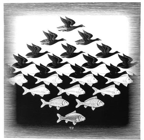 Escher, lucht en water
