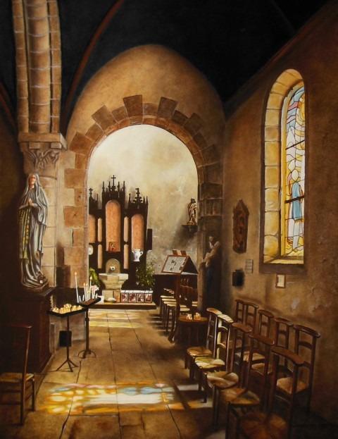Galere Staphorsius,, expositie Zonder Haast, kerkinterieur van Jan Teunissen