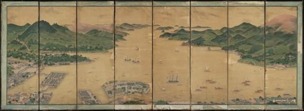 Kamerscherm met de baai van Nagasaki en het eiland Deshima, ca. 1836, Kawahara Keiga, collectie Museum Volkenkunde