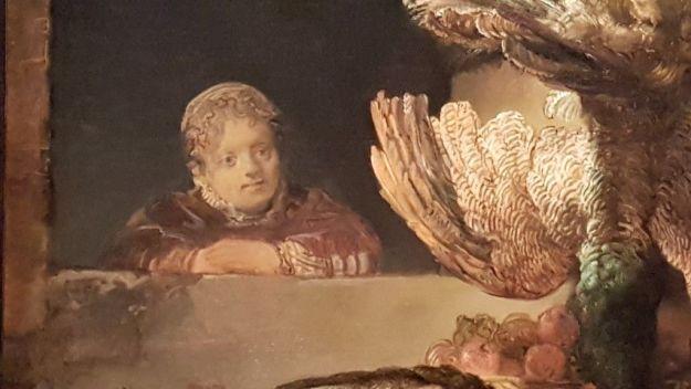 Expositie Alle Rembrandts, bij hem thuis, meisje (Cornlia? stilleven met pauwen, detail, 1639