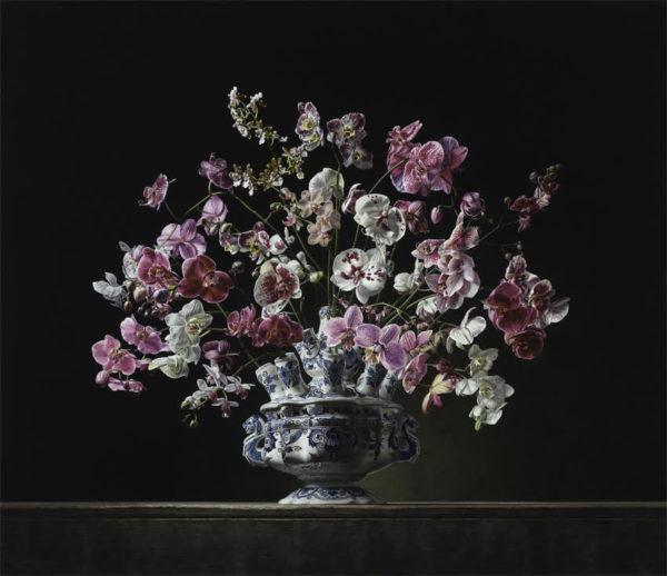 Roman en Henriëtte Reisinger, Stilleven met orchideeën, olieverf op paneel 130x110-cm-