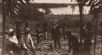 Kokosnootplantage Brundalis met rechts Bernardus van Klaarwaterg