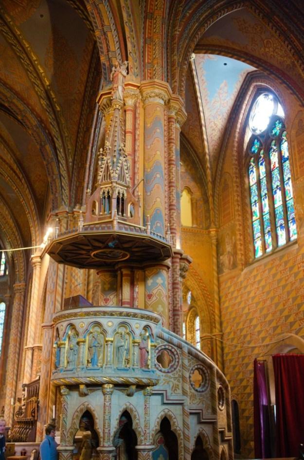 preekstoel Matthiaskerk Boedapest, foto Rolf Merle