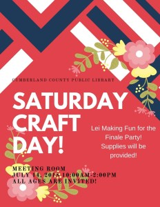 Saturday Craft Day! Lei Making! @ Cumberland County Public Library