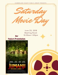 Saturday Movie Day! Jumanji (2017) @ Cumberland County Public Library