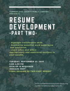 Resume Development Part 2 @ Cumberland County Public Library