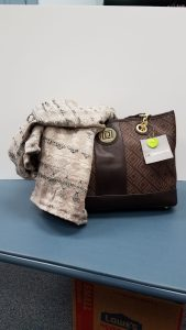 Liz Claiborne Real Fit Satchel Handbag with an ivory and tan geo textured scarf - Retail Value $103.