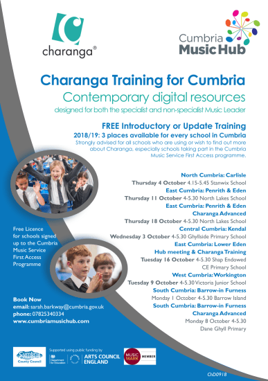Charanga Training: Free Places for schools in Cumbria @ Various