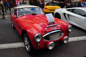 Rally prepared Austin Healey 3000. Regent Street Motor Show - Nov 2012.