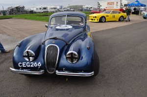 "XK120 Coupe awaiting pre-race scrutineering. ""Four wheels + driver …. on you go""!"