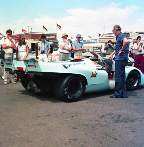Stoic Racing Gulf liveried Porsche 917 in the Silverstone paddock in the 1980s