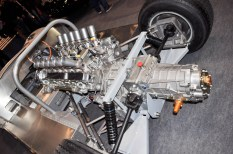 Detailed view of rear suspension, engine & transmission