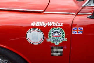 """One of many cars showing support for Billy """"Whizz"""" Monger who lost his legs in a terrible F4 crash recently"""