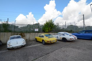 My car between Steve's 356C and Simon Bowrey's '65 911 race car