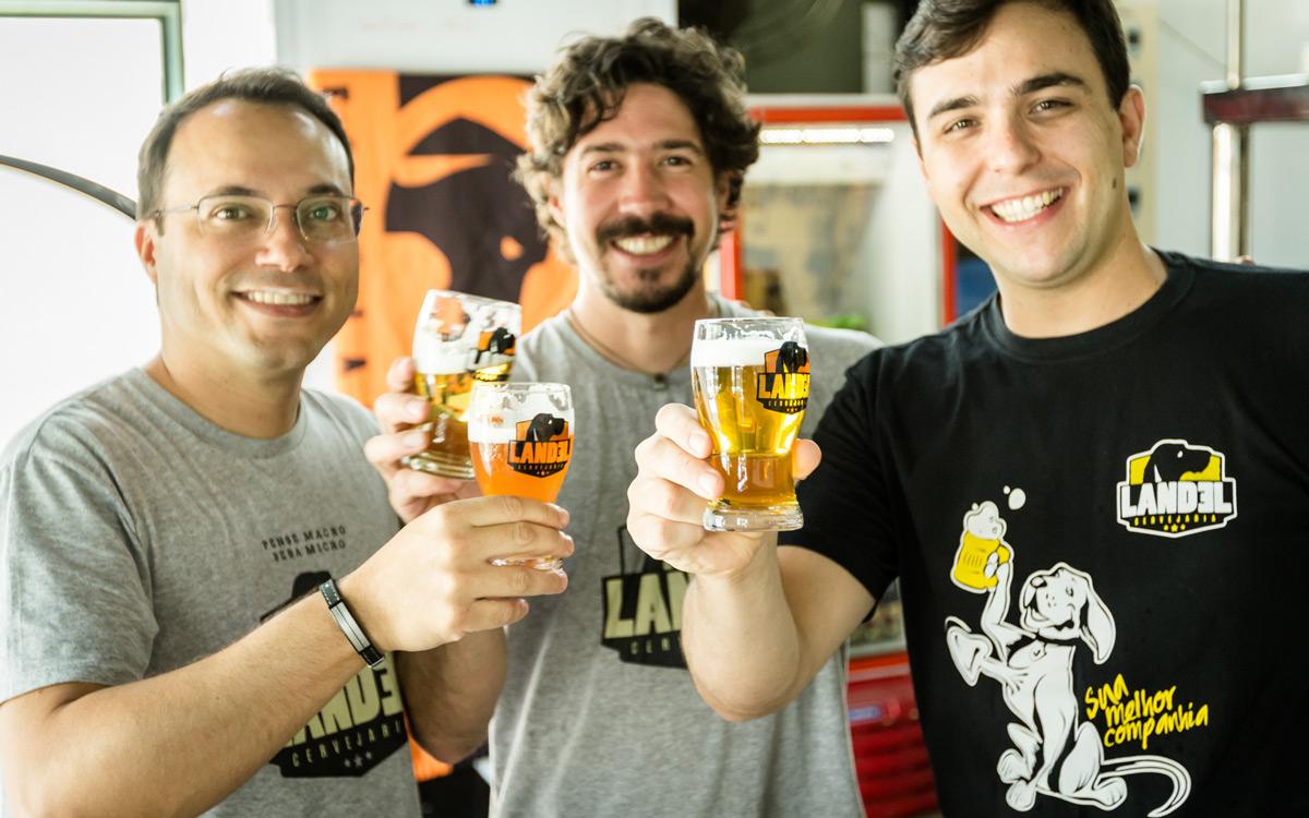 Os três sócios da Cervejaria Landel Campinas